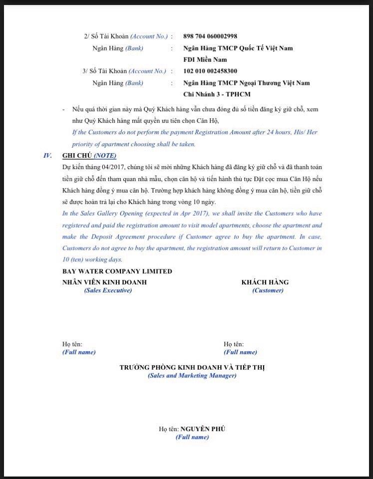 Phiếu đăng ký giữ chỗ căn hộ Sunwah Pearl Bình Thạnh