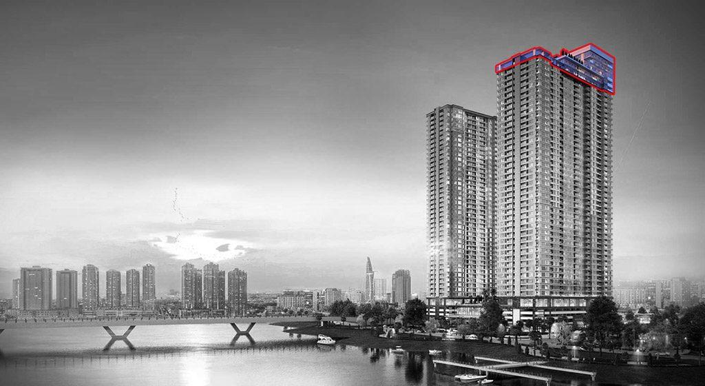 Vị trí căn hộ Sunwah Pearl Penthouse nằm ở tầng 46 và 47