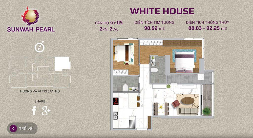 Mặt bằng căn hộ Sunwah pearl 2 phòng ngủ