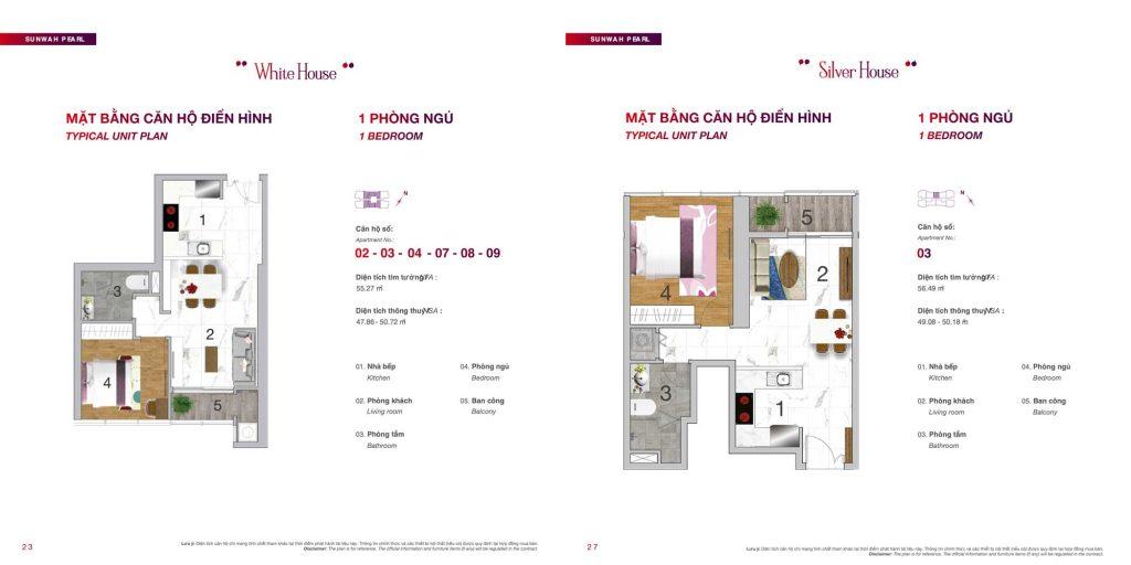 Mặt bằng căn hộ 1 phòng ngủ Sunwah Pearl