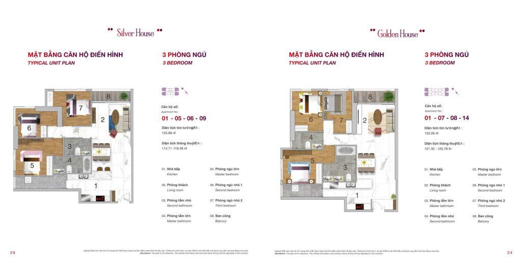Mặt bằng chi tiết căn hộ Sunwah Pearl 3 phòng ngủ