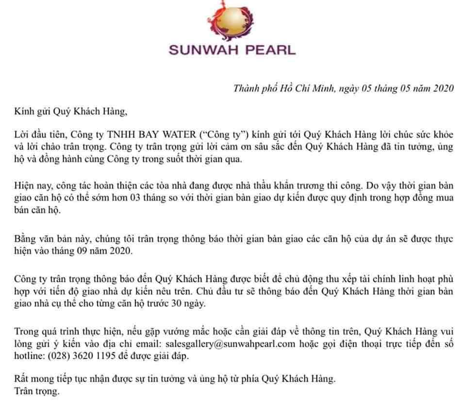 Thông báo tiến độ bàn giao căn hộ Sunwah Pearl sẽ được diễn ra từ tháng 09/2020