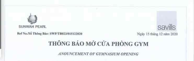 Bản scan của thông báo mở cửa Phòng GYM được phát hành từ ban quản lý tòa nhà Sunwah Pearl
