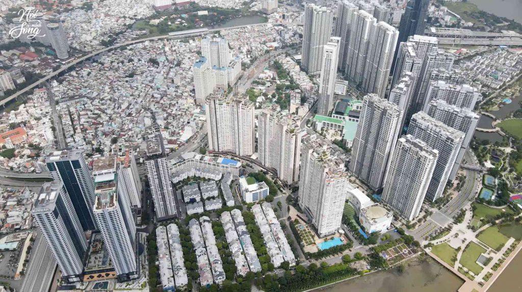 Hình chụp từ trên cao toàn cảnh dự án Saigon Pearl và Sunwah Pearl