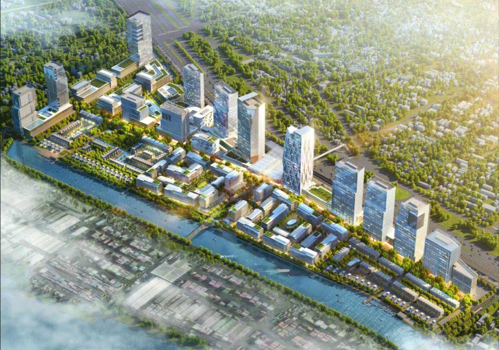 Các tòa tháp căn hộ nằm dọc theo trục đường xa lộ Hà Nội