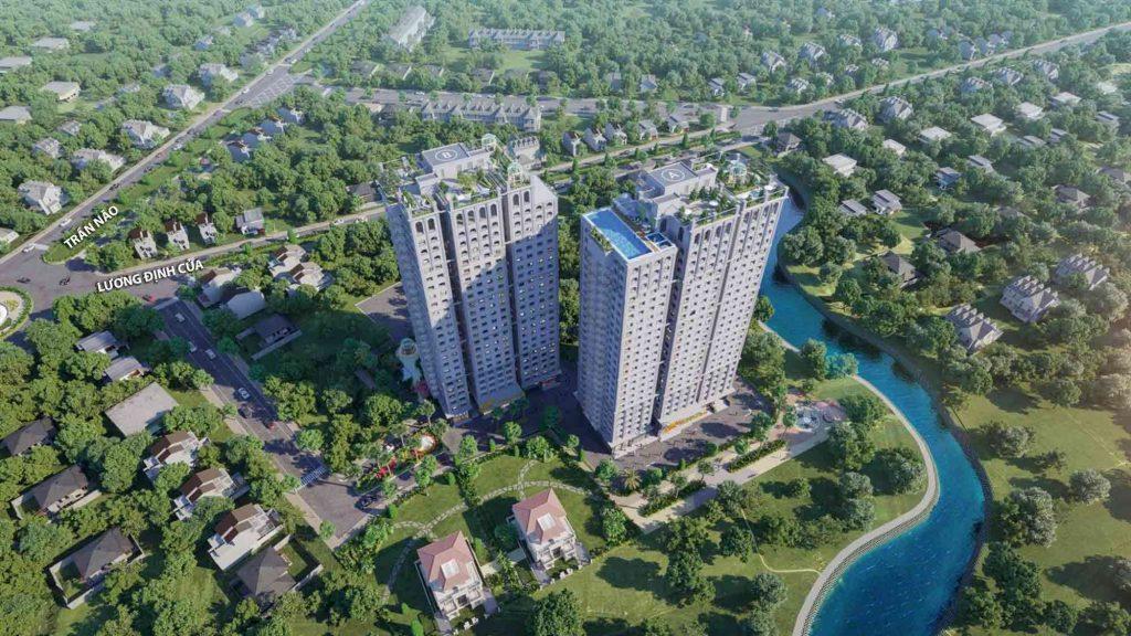 2 toà tháp căn hộ Paris Hoàng Kim cao 26 tầng